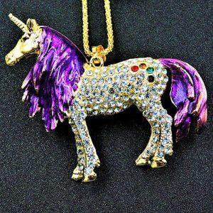 """Jewelry - 3D Majestic 3"""" Crystal Rainbow Unicorn Necklace"""